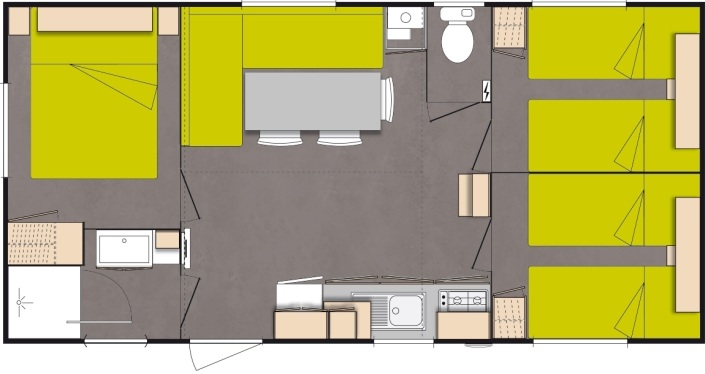 Mobil-home Loisir 3 chambres - 6 pers